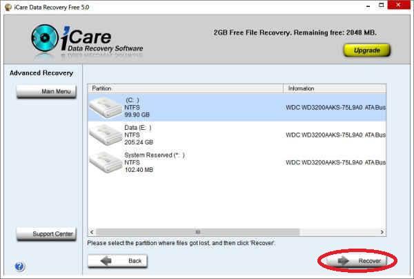 Untuk mengembalikan file yang terhapus, pilih Advanced File Recovery ...