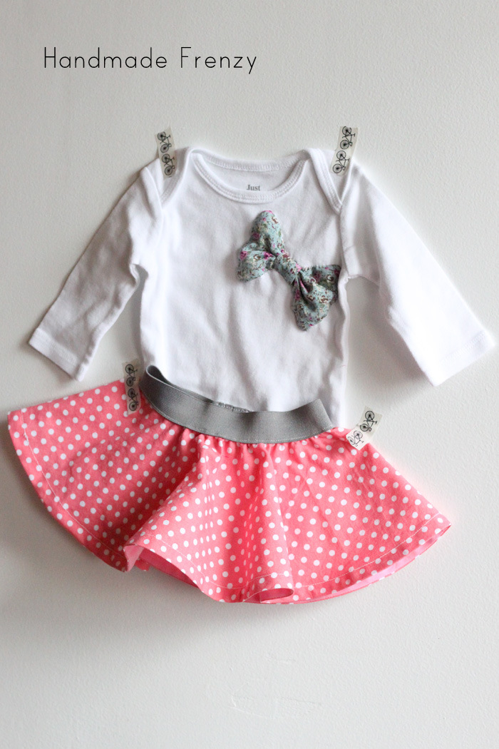 Baby Circle Skirt & DIY Bow Onesie