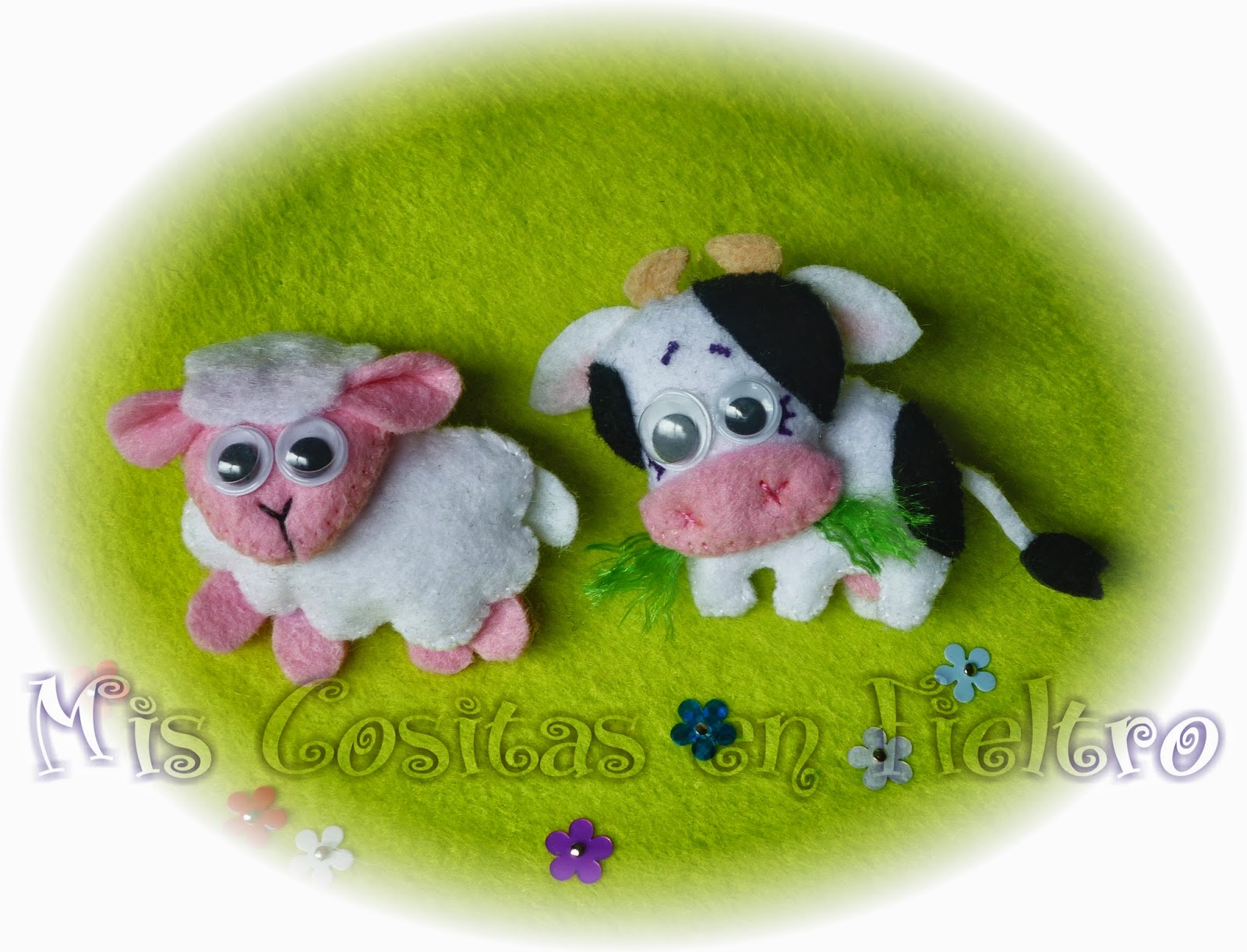 animal de fieltro, broche de fieltro, felt animal, felt art, oveja, sheep, ovella, ovelha, vaca, cow
