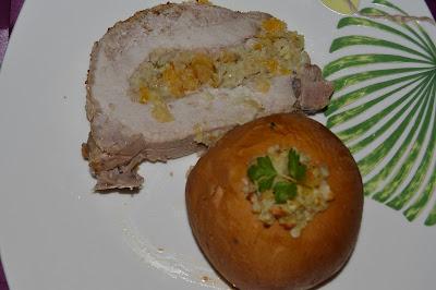 Lombo de Porco recheado com Maçã e Frutos Secos