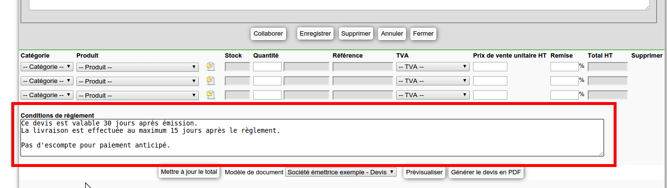 comment utiliser simple crm    comment ins u00e9rer automatiquement des conditions de r u00e8glement ou de