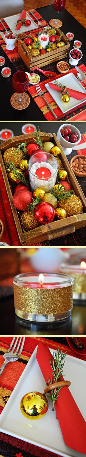 Mesa de jantar com inspiração natalina