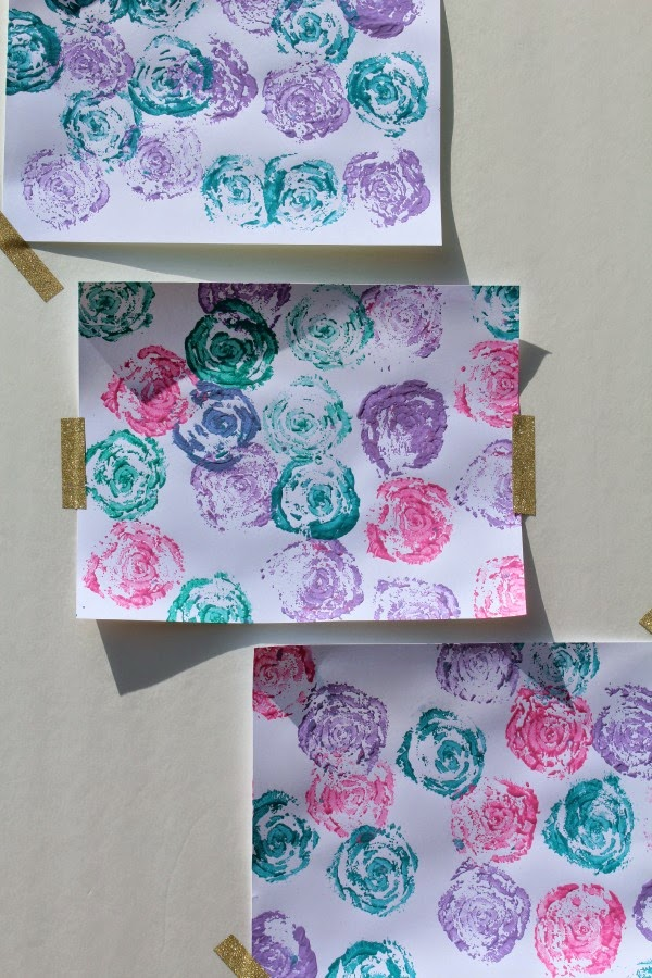 diy celery stamp rose paintings