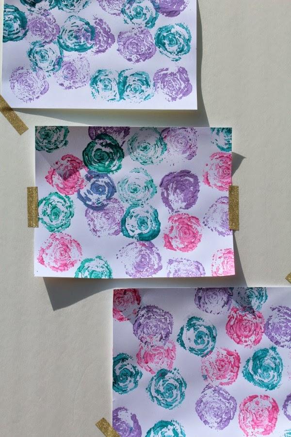 diy celery stamp rose paintings