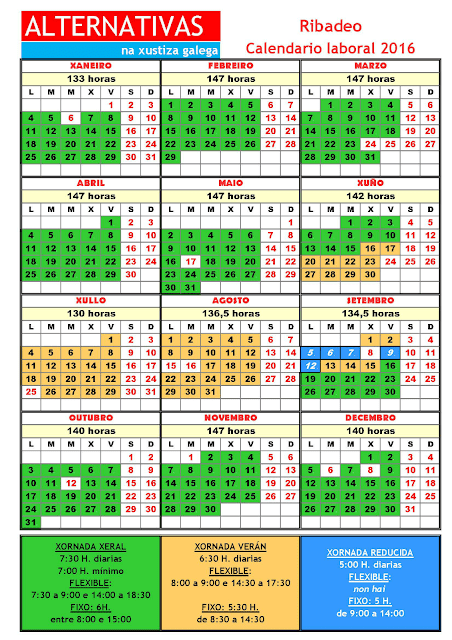 Ribadeo. Calendario laboral 2016