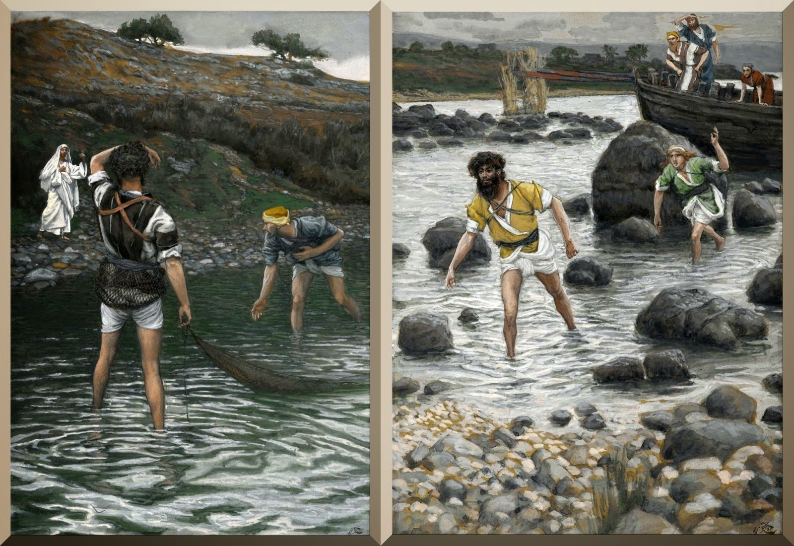 """The Calling of Saint Peter and Saint Andrew"" (left) and ""The Calling of Saint James and Saint John"" (right) -- by James Tissot"