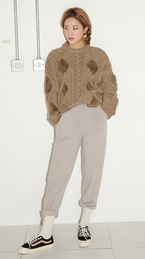 Faux Fur Trim Cable Knit Sweater