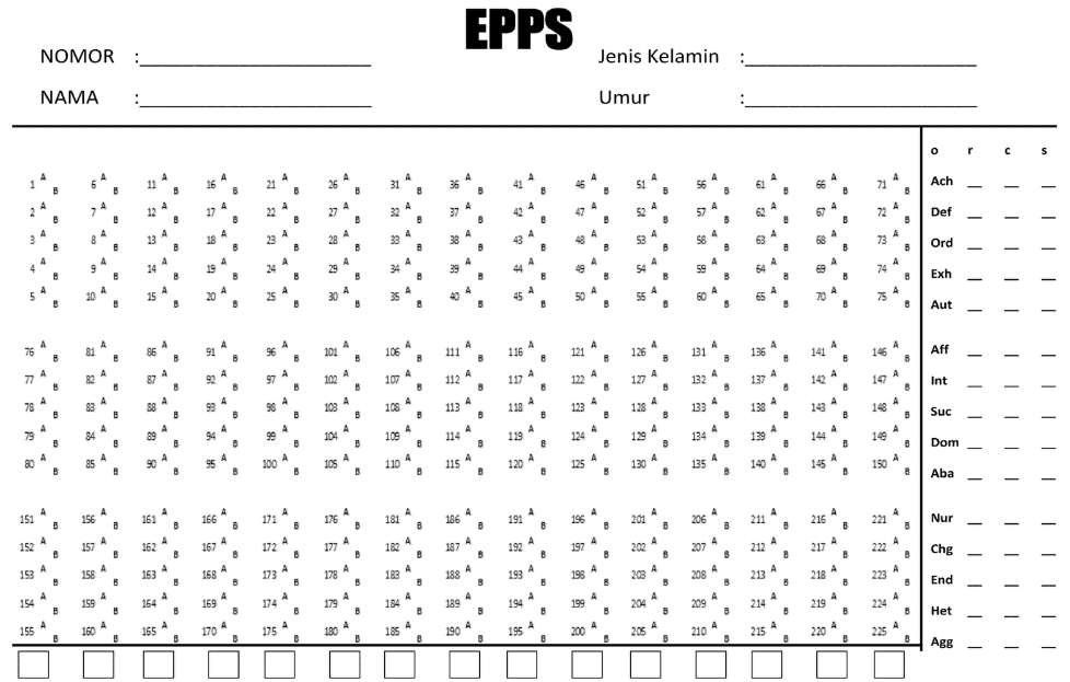 Contoh Soal Psikotes EPPS (Test Edwards Personal Preference Schedule)