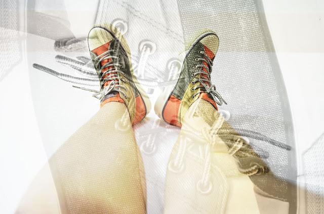 Army Green High Top Denim Platform Sneakers