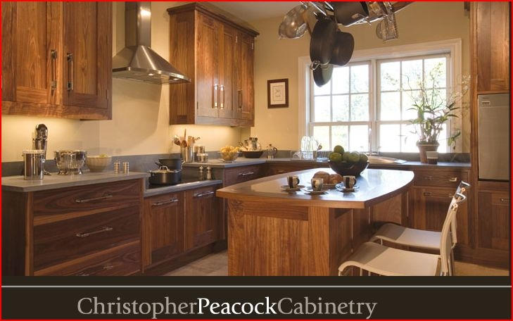 Bloombety hickory wood floors with glass doors hickory for Christopher peacock kitchen cabinets