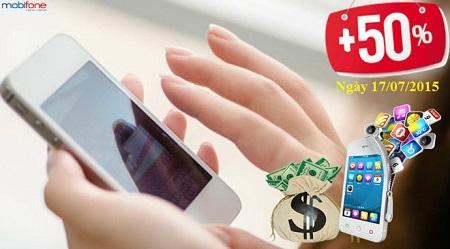 Khuyến mãi 50% giá trị thẻ nạp Mobifone ngày 17/07