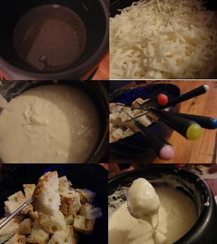 fondue de queso rallado