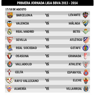 SPANISH FOOTBALL - LIGA - CALENDAR | SCHEDULE FOR SEASON 2013-2014