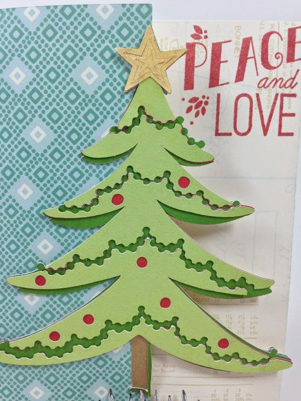 Cricut Peace and Love Christmas tree card closeup
