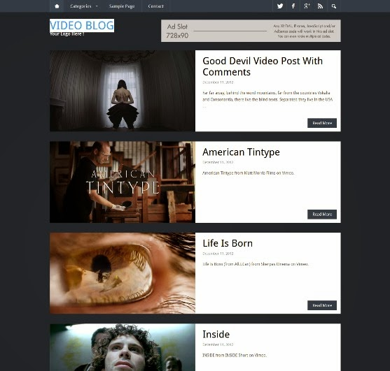 Video Blog Theme - WordPress Video Theme