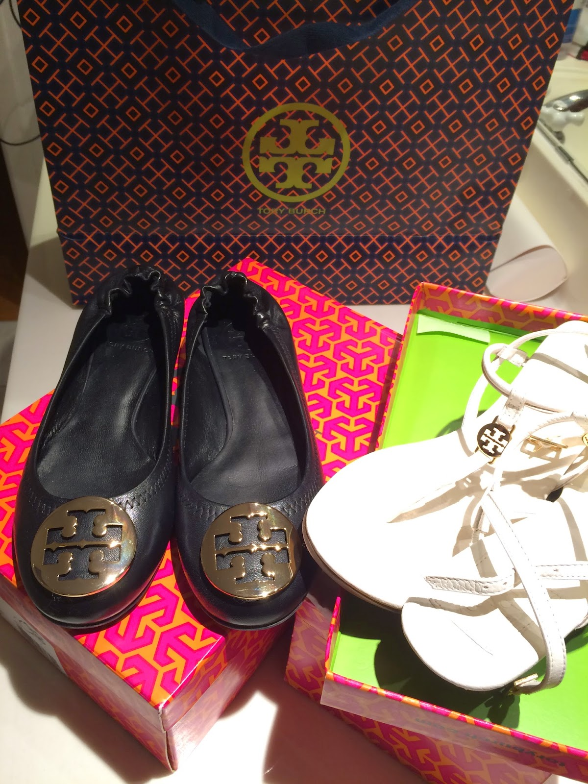 Tory Burch Black Reva Flats and White Emmy Demi Sandals