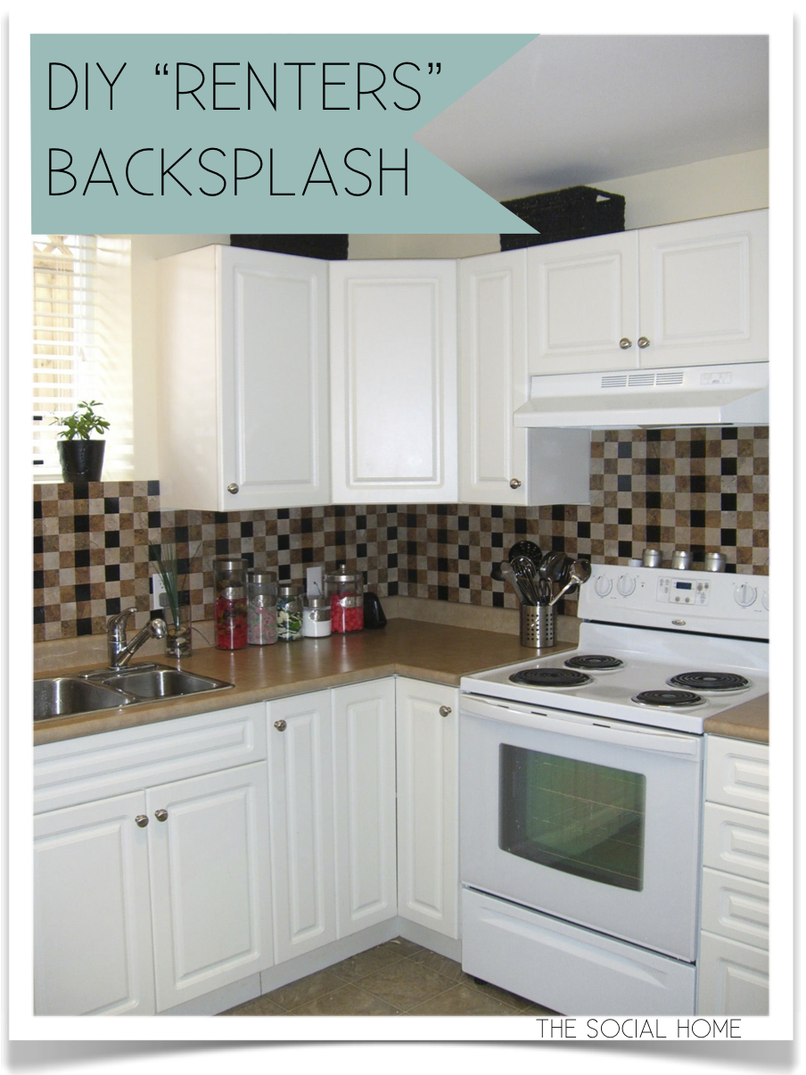 Diy renters backsplash with vinyl tile for Diy kitchen floor ideas