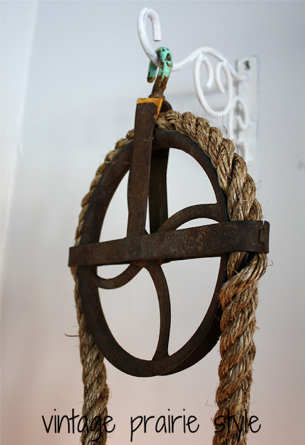 A rustic rope and pulley light totally easy to make! by Vintage Prairie Style featured on I Love That Junk