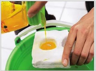 Cairan telur kuning dimasukkan ke dalam acuannya