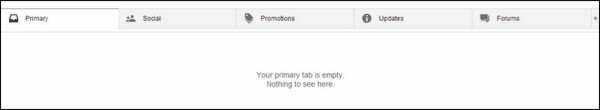View of the new Gmail Inbox with the 5 tabs - Primary, Social, Promotion, Updates and Forums