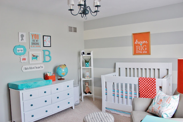 Aqua, Orange & Grey Nursery