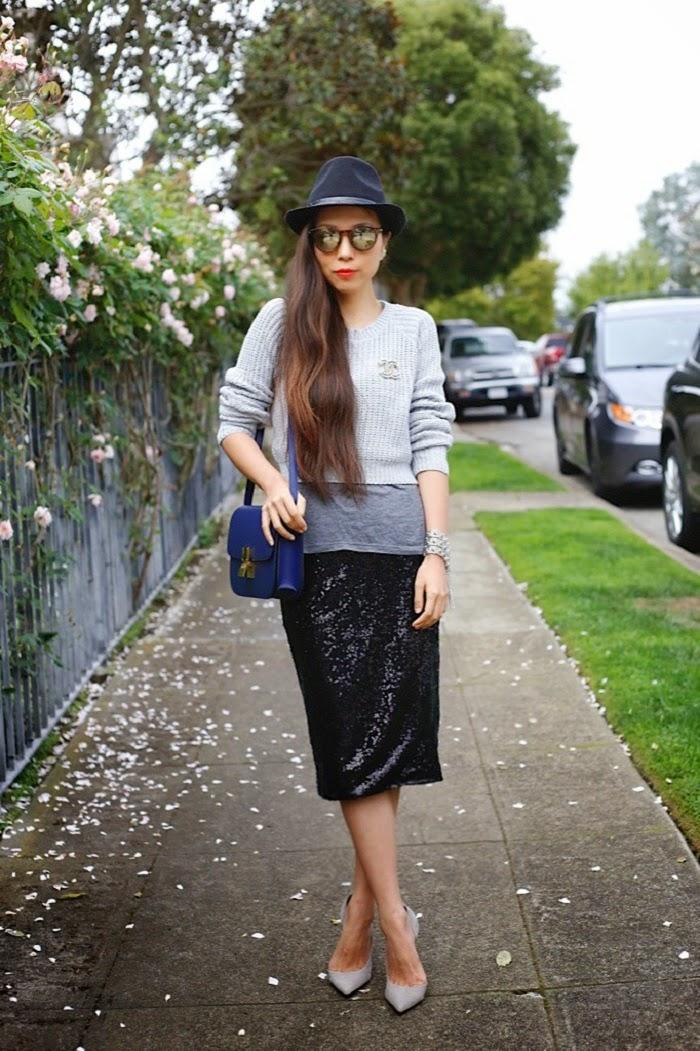 Chanel Brooch,Nicole Scherzinger and Missguided collection, missguided grey jumper, missguided midi sequin skirt, Ily couture fashionable late tee, schutz heels, le specs sunglasses, kendra scott bracelet, topshop hat, celine classic box, Baublebar 360 pearl studs, shallwesasa, how to wear sequins in the day, street style, travel, fashion blog, sale info, holiday gift ideas