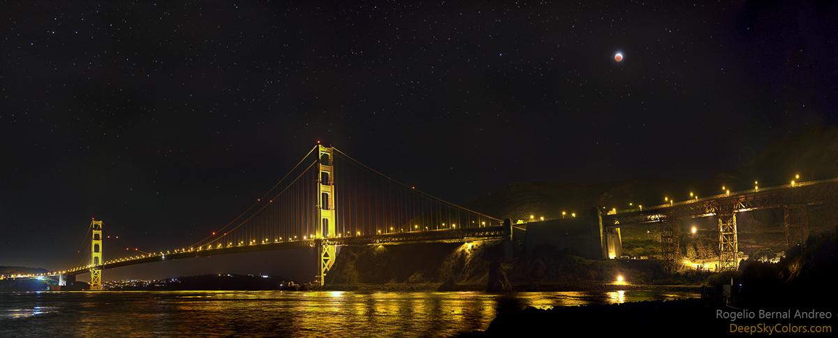 Nguyệt thực toàn phần ở cầu Cổng vàng. Tác giả hình : Rogelio Bernal Andreo (Deep Sky Colors).