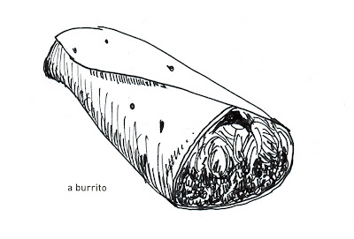 642 Things to Draw - a burrito, pen and ink by Ana Tirolese ©2012