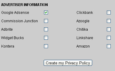 generate privacy policy to comply with adsense