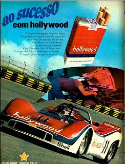 Anúncio cigarros Hollywood - 1974.  propaganda anos 70; história decada de 70; reclame anos 70; propaganda cigarros anos 70; Brazil in the 70s; Oswaldo Hernandez;