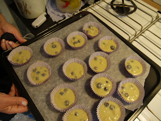 Blåbær cupcakes i forme