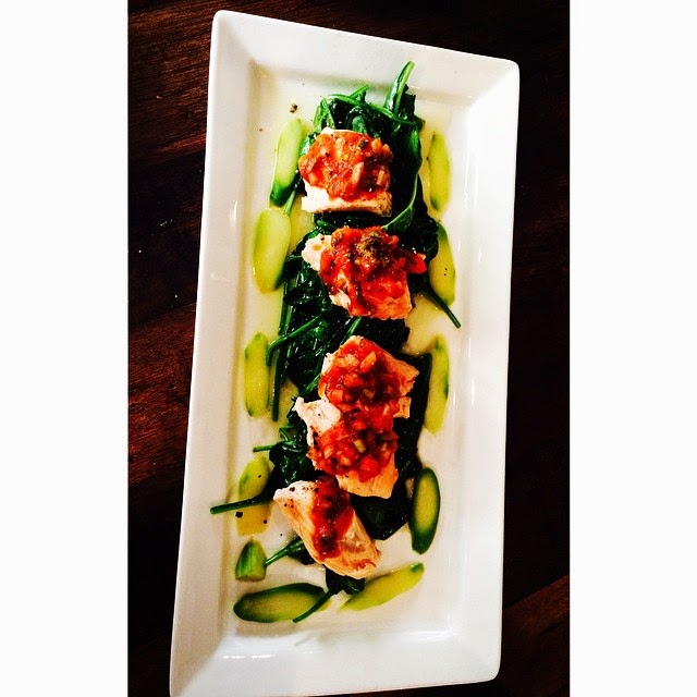Poached Salmon with Asparagus and Spinach Salad