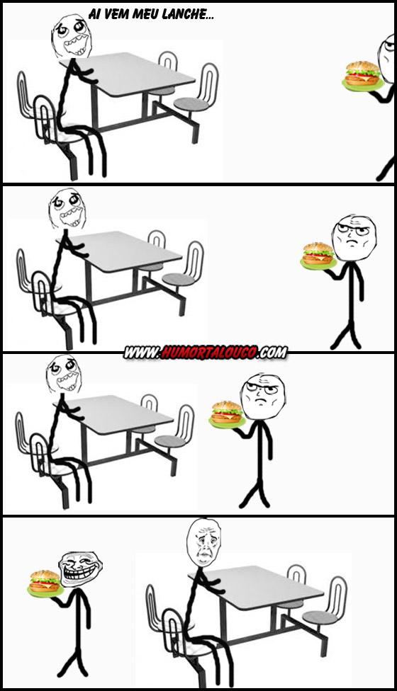 Tirinha: Esperando o lanche no Fast Food...