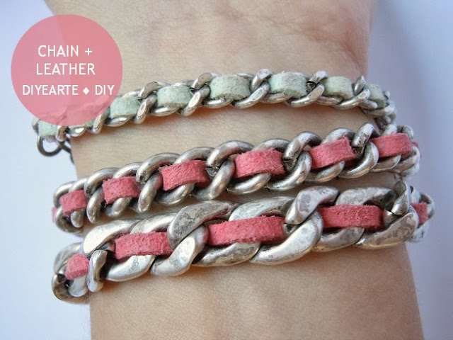 chain-leather-thread-cord-diy-diyearte-bracelet-handmade-pulsera-cadena-cuero-jewelry