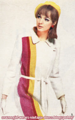 Dress and coat , color block, 1966 Basta 60s 1960 mod stripe striped