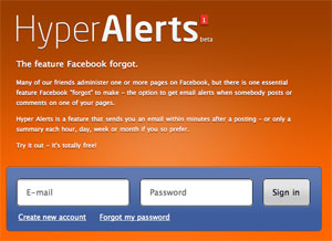 Email aterts from Facebook pages