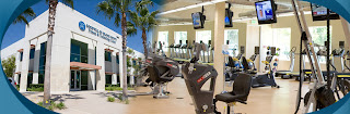 Exterior photo of Goodwill building. Interior photo of exercise equipment.