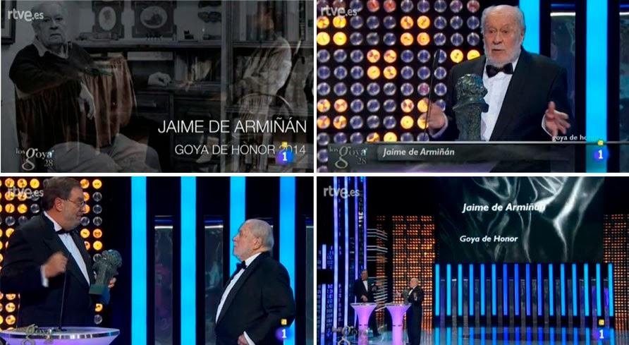 Jaime de Armiñán recibió el Goya de Honor de manos de Enrique González Macho