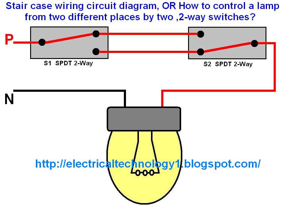 Staircase Wiring Diagram Using Two Way Switch : Staircase wiring circuit diagram electrical technolgy