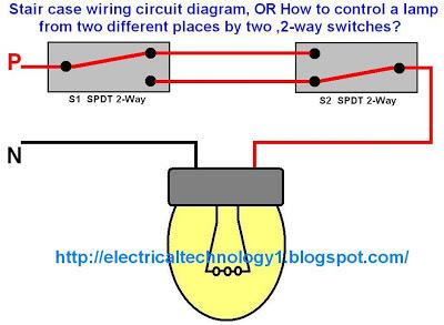 Stair case wiring circuit diagram Panel switch wiring