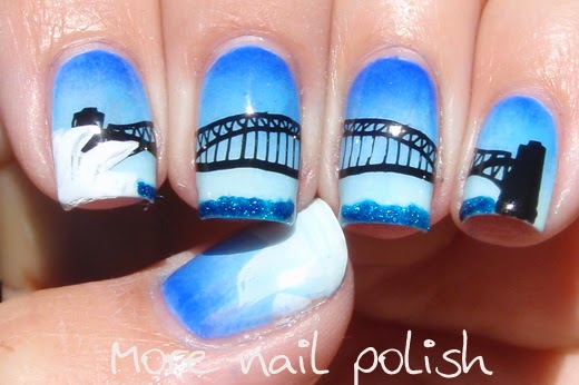 Aussie nails sydney harbour bridge nail art take 2 more nail i prefer the gradient i created this time its much smoother and i love the overall cool blue finish to these nails prinsesfo Gallery