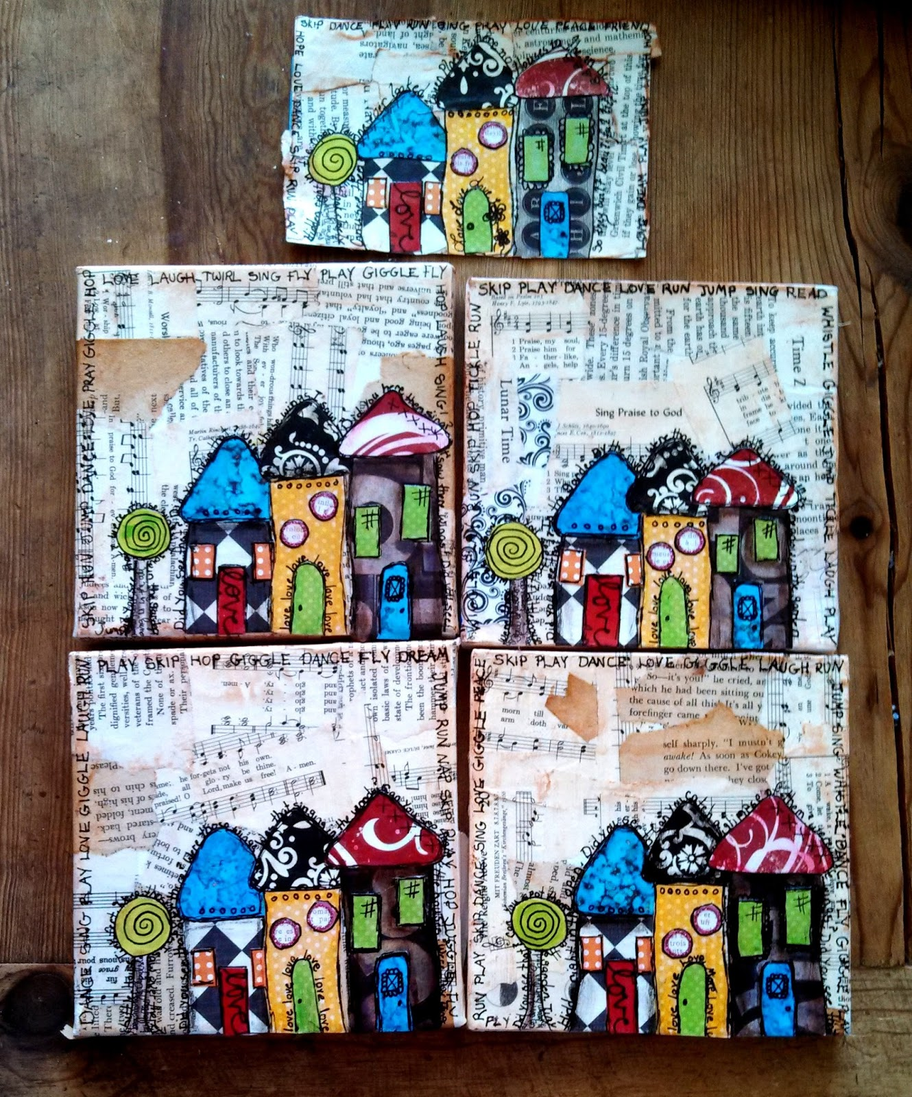 Molly lolly loo mini mixed media canvases for Things to do with mini canvases