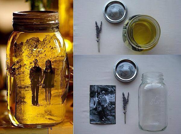FANS OF NATURE: Vintage photo mason jar, wedding centerpiece idea?