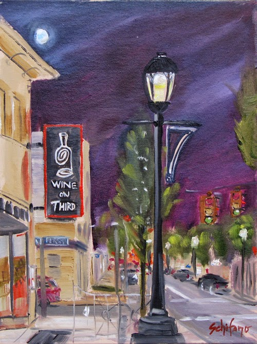 Kathy Schifano, plein air, city street painting, commission artist, Third Street