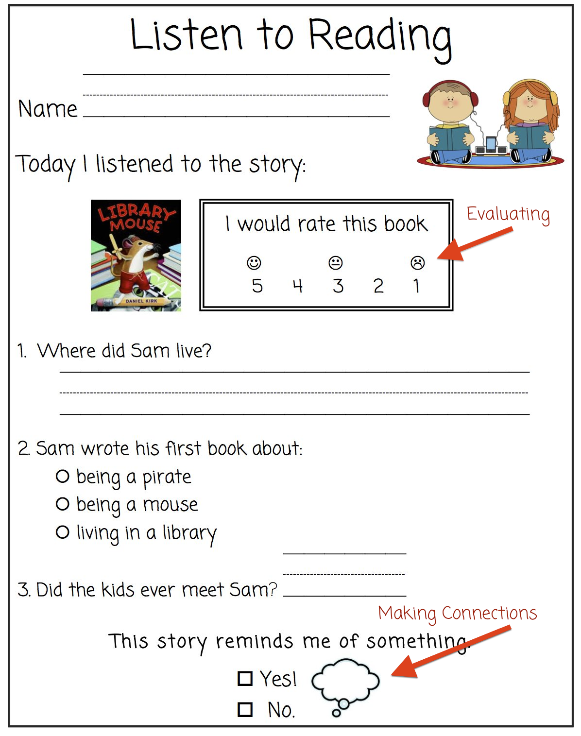 worksheet Making Connections Worksheet the first grade bloom worksheet for listening comprehension i hear you wondering what do kiddos who cant read questions there are 2 solutions students help each other if th