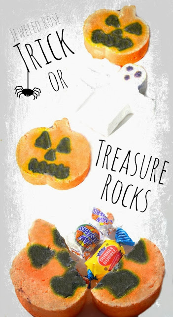Trick or Treasure Rocks- easy to make and SO FUN for kids!  Whip up a batch of these for a SUPEr Halloween party favor, make them for your kids class, or simply to delight your own children right at home.