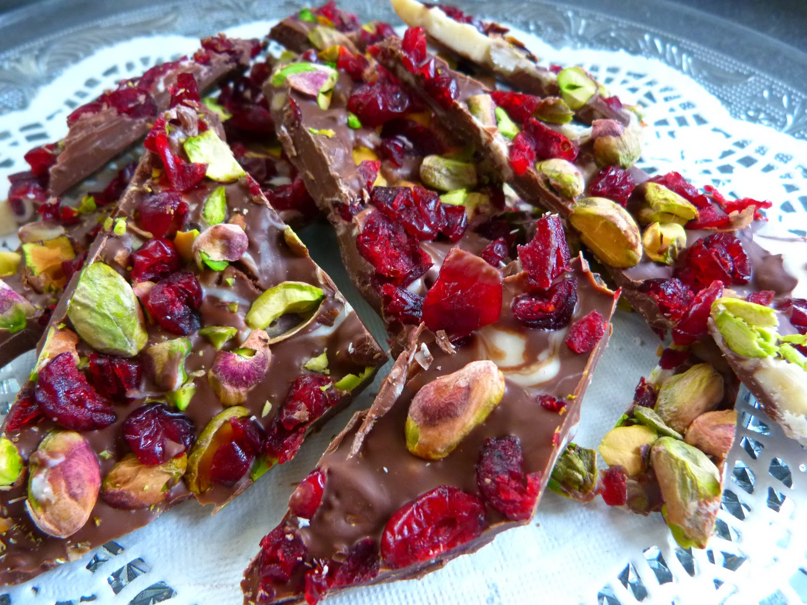 Cranberry and Pistachio Chocolate Bark
