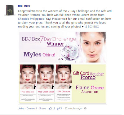 BDJ BOX/Shiseido 7-day Challenge Winner