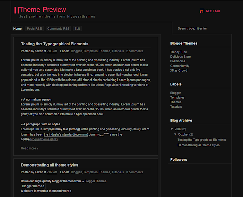 ZDark Blogger Theme