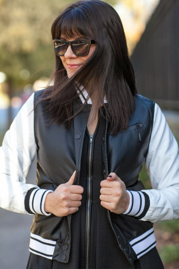 varsity jacket outfit, over the knee boots, black and white outfit